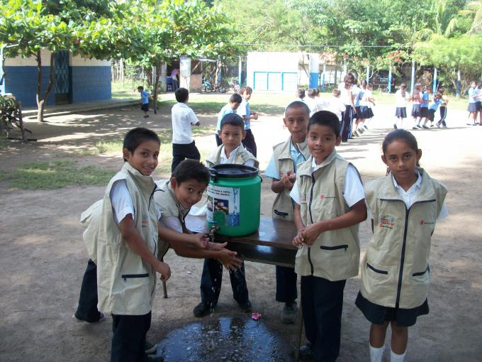 School brigadiers modeling the correct hand washing technique which is taught to other students.Photo by Michael Bisceglie